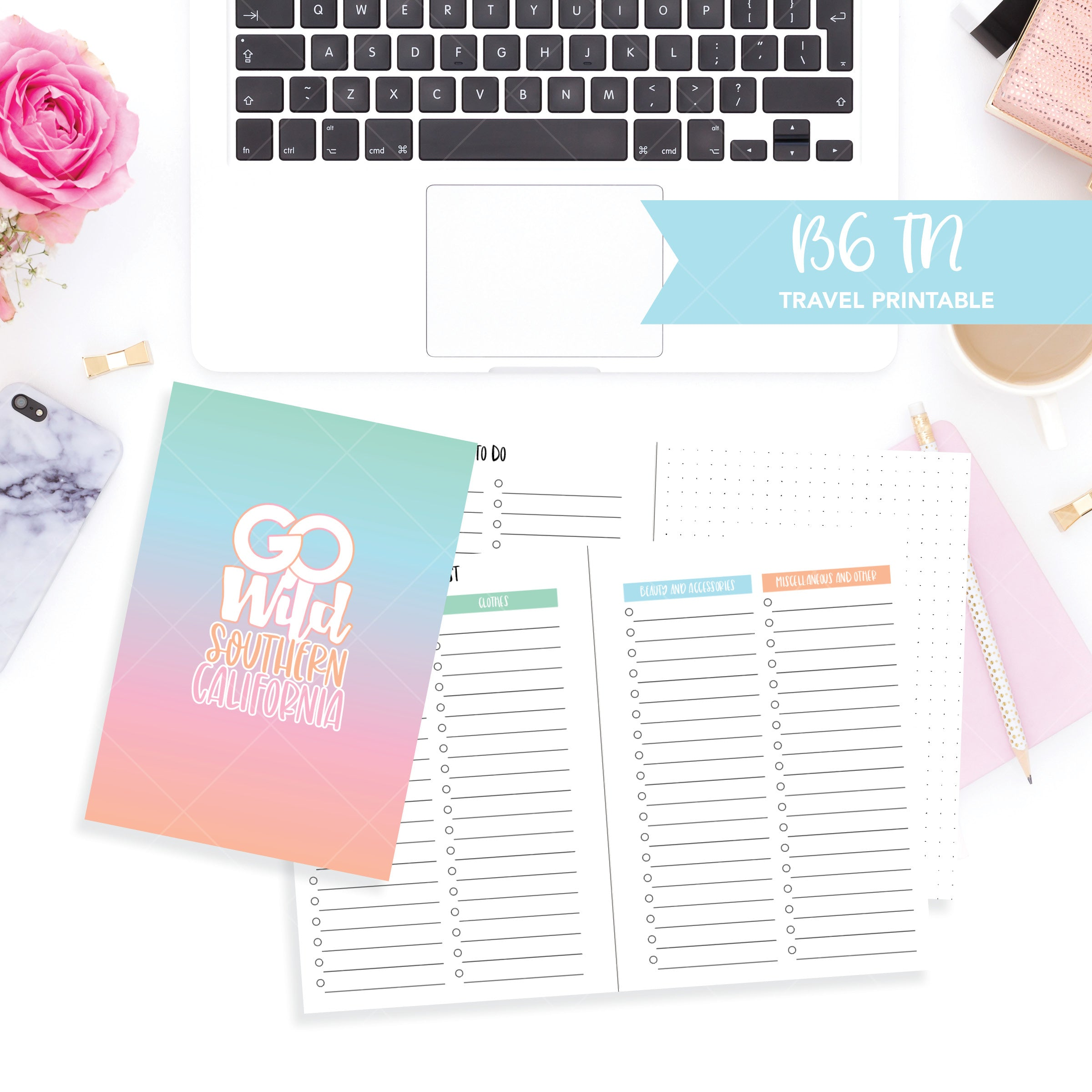 B6 Travelers Notebook Printable / Instant Download // Go Wild Travel