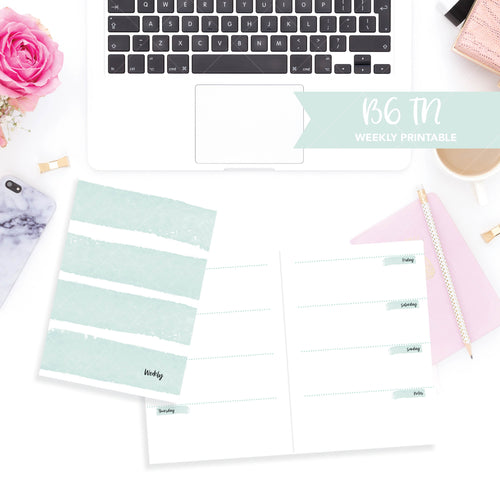 B6 Travelers Notebook Printable / Instant Download // Horizontal Weekly // Watercolor Mint