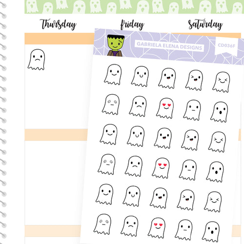 Frankie Frankenstein // Halloween Set // Drawn Doodles // Ghost Emoticons