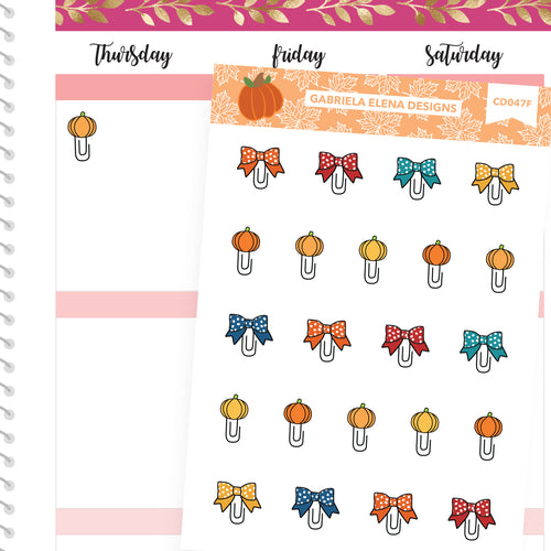 Fall Deco Stickers // Fall Set // Drawn Doodles // Paperclips / Bright