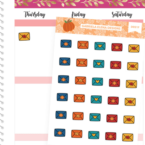 Fall Deco Stickers // Fall Set // Drawn Doodles // Happy Mail / Letters / Envelopes / Bright