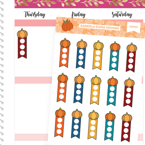 Fall Deco Stickers // Fall Set // Drawn Doodles // Pumpkin Mini Checklists / Brights