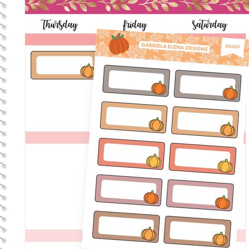 Fall Deco Stickers // Fall Set // Drawn Doodles // Quarter Boxes / Neutrals