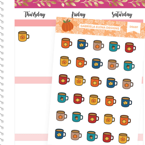 Fall Deco Stickers // Fall Set // Drawn Doodles // Fall Mugs / Brights