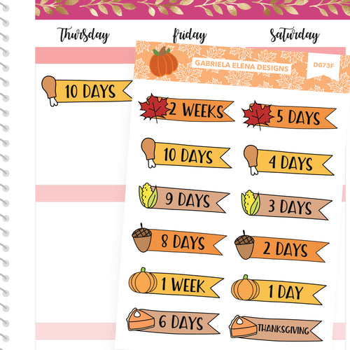 Fall Deco Stickers // Fall Set // Drawn Doodles // Thanksgiving Countdown