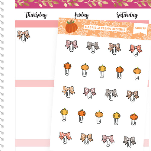 Fall Deco Stickers // Fall Set // Drawn Doodles // Paperclips / Neutrals