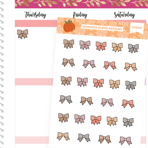Fall Deco Stickers // Fall Set // Drawn Doodles // Bows / Neutrals