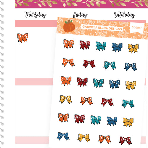 Fall Deco Stickers // Fall Set // Drawn Doodles // Bows / Brights
