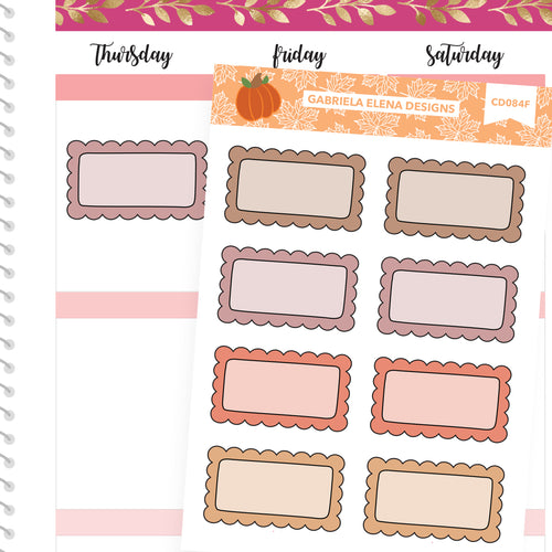 Fall Deco Stickers // Fall Set // Drawn Doodles // Scallop Boxes / Neutrals