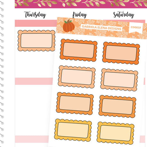 Fall Deco Stickers // Fall Set // Drawn Doodles // Scallop Boxes / Orange