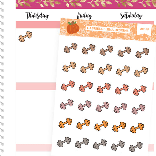Fall Deco Stickers // Fall Set // Drawn Doodles // Gym / Weights / Neutrals