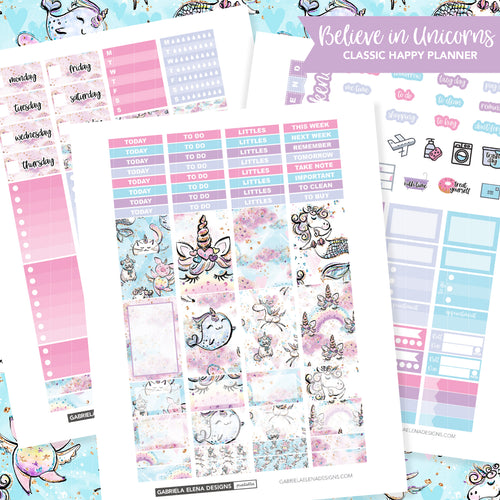 CLASSIC HAPPY PLANNER Printable / Instant Download / Believe in Unicorns