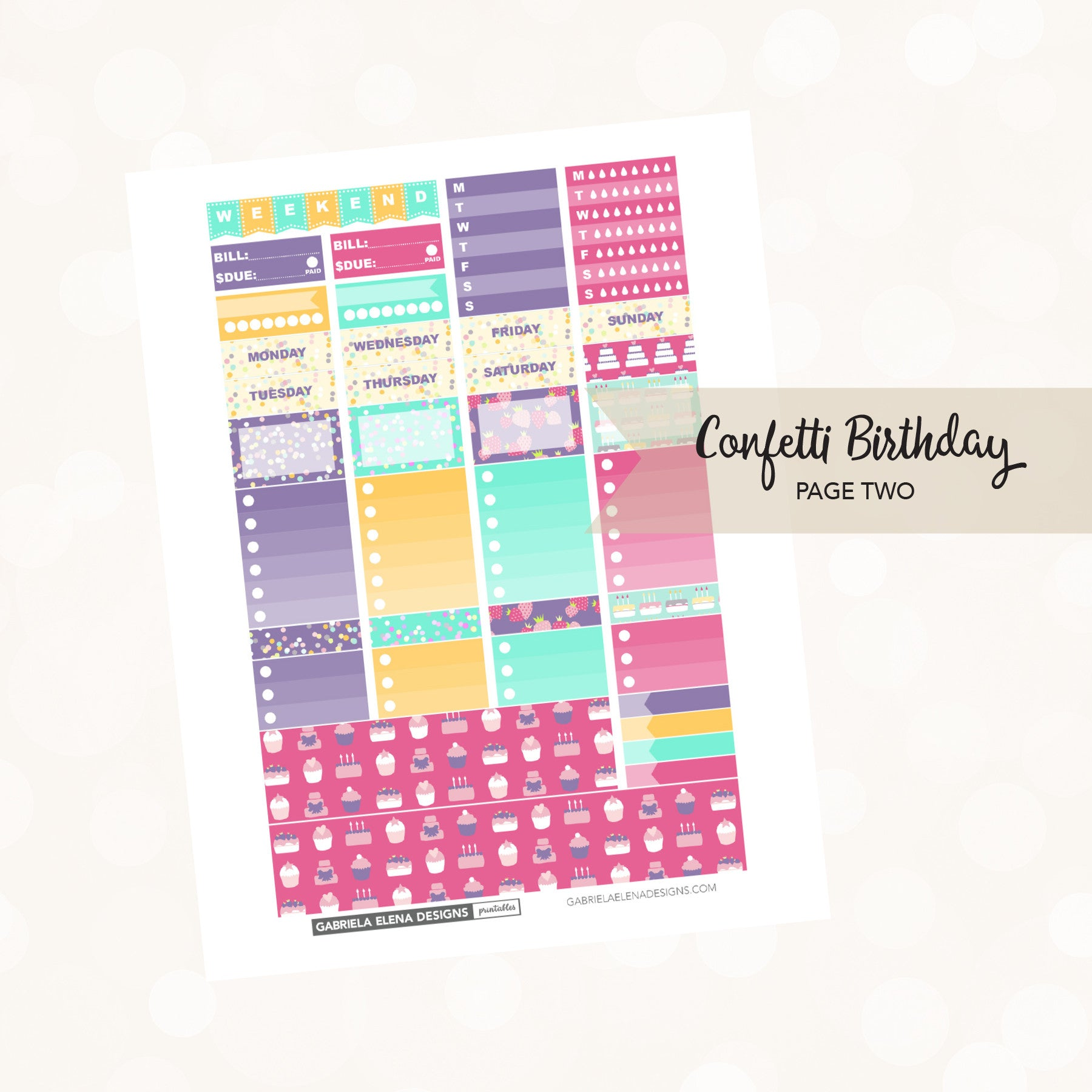 VERTICAL Printable / Instant Download / Confetti Birthday