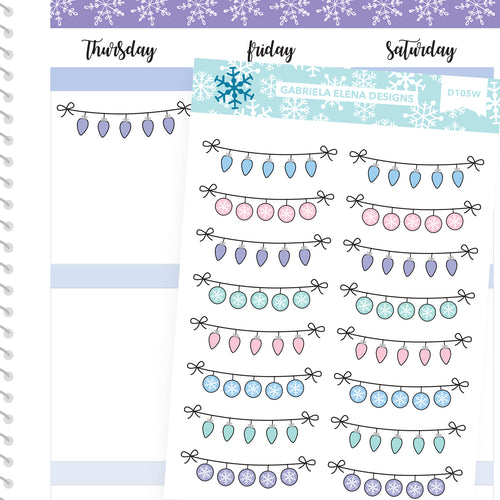 Winter Deco Stickers // Winter Set // Drawn Doodles // Pastel / Winter Banners
