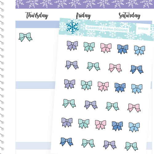 Winter Deco Stickers // Winter Set // Drawn Doodles // Pastel / Bows