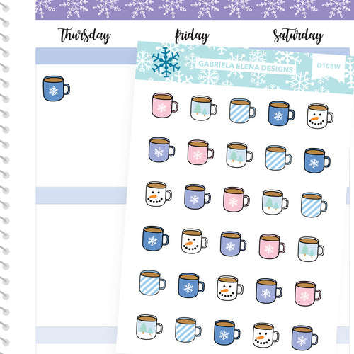 Winter Deco Stickers // Winter Set // Drawn Doodles // Pastel / Mugs