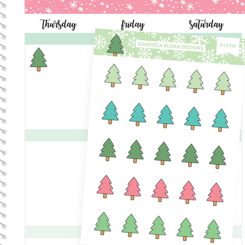 Christmas Set // Winter Stickers // Drawn Doodles // Christmas Trees