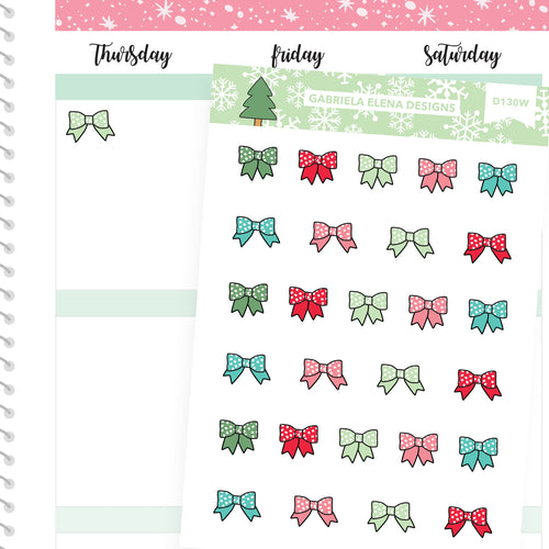 Christmas Set // Winter Stickers // Drawn Doodles // Bows