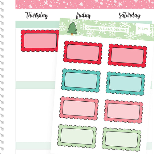 Christmas Set // Winter Stickers // Drawn Doodles // Scallop Boxes