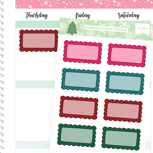 Christmas Set // Winter Stickers // Drawn Doodles // Scallop Boxes / Dark