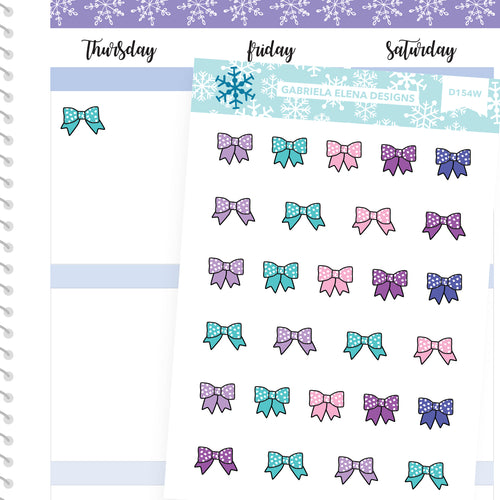Winter Deco Stickers // Winter Set // Drawn Doodles // Bright / Bows