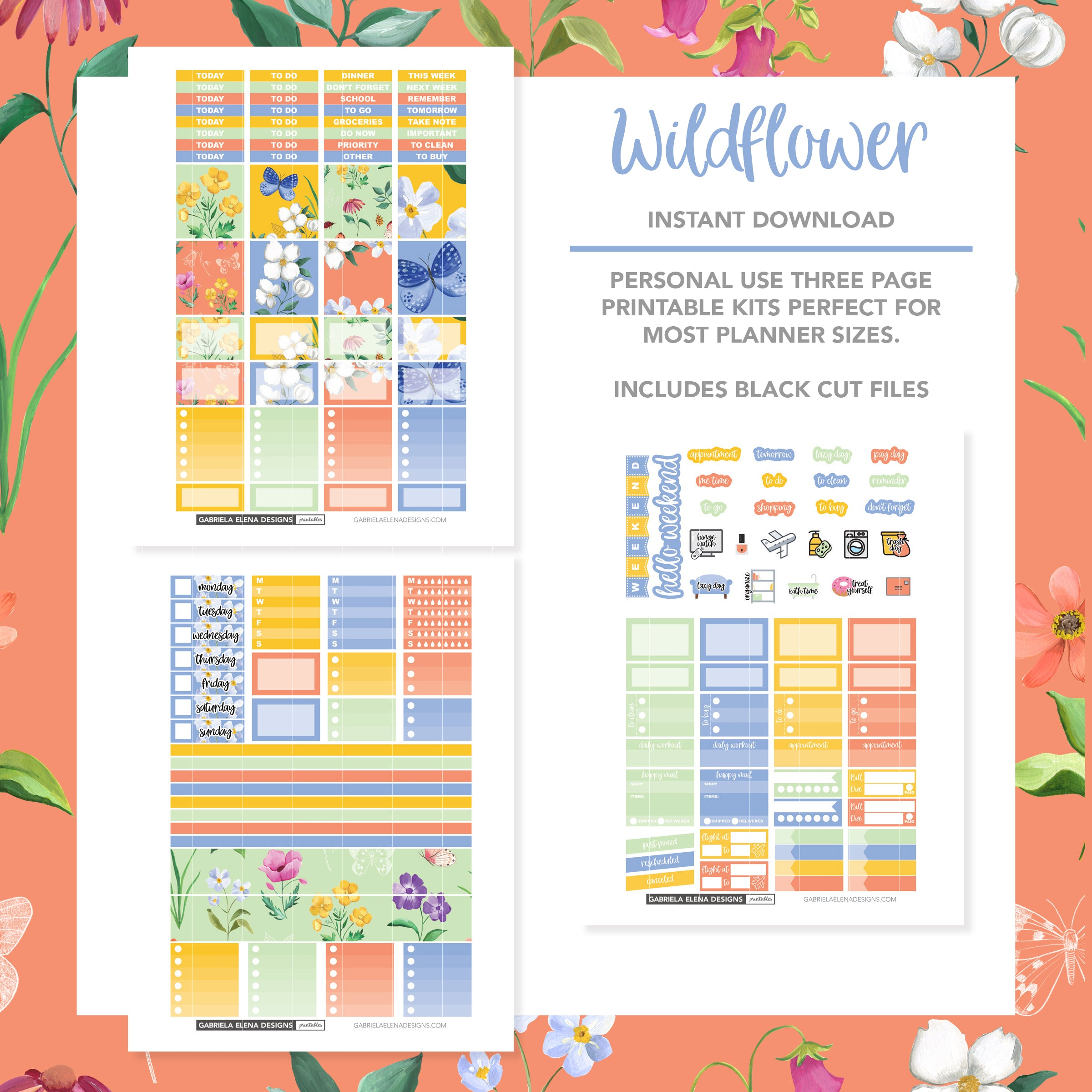 HORIZONTAL Printable / Instant Download / Wildflower