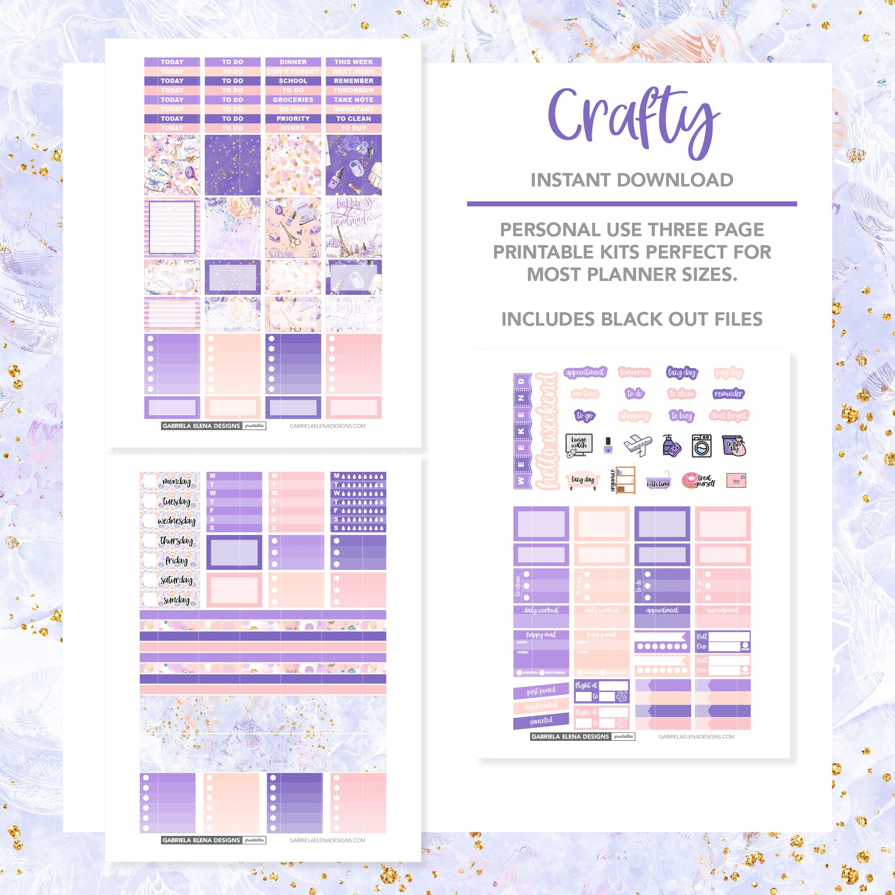 HORIZONTAL Printable / Instant Download / Crafty