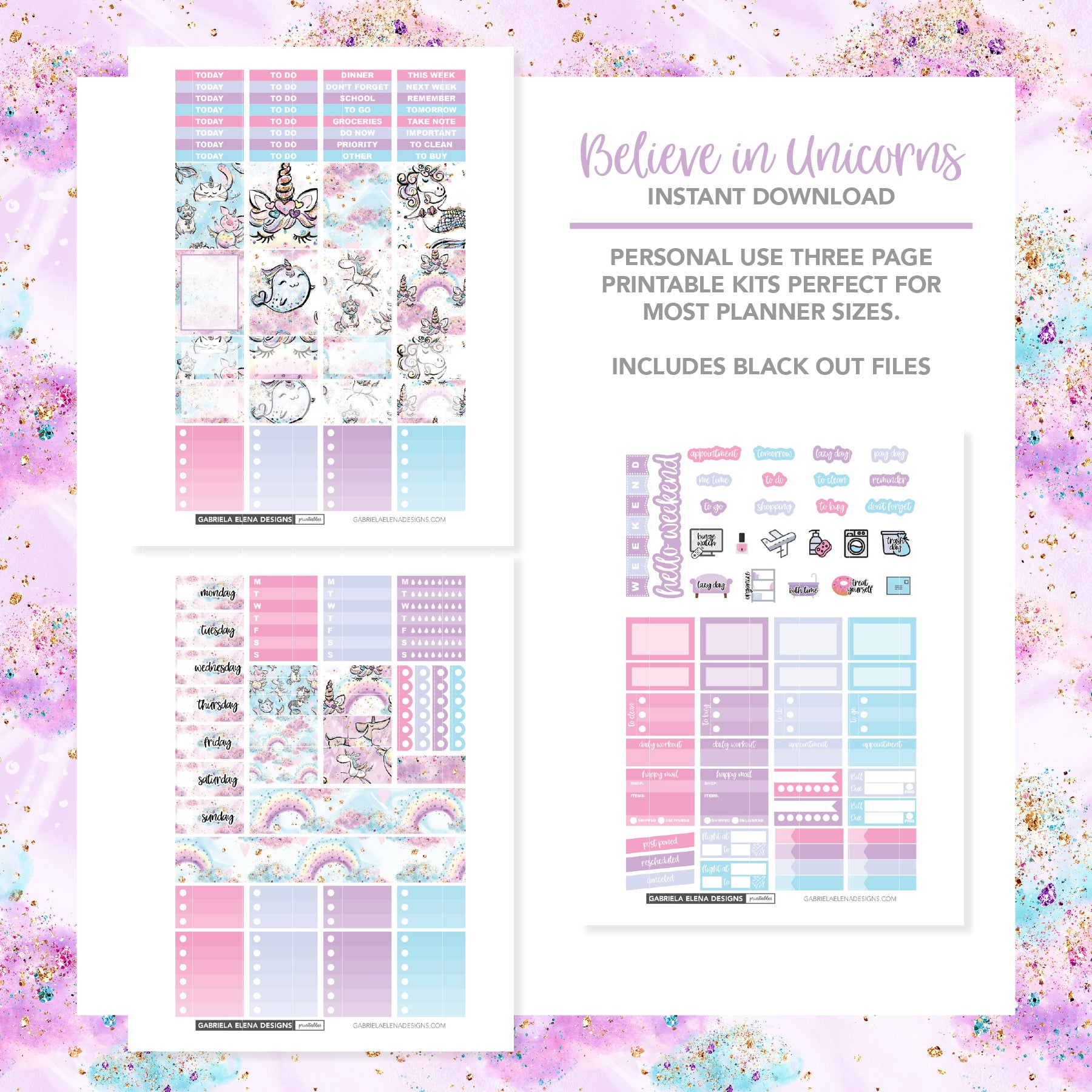 VERTICAL Printable / Instant Download / Believe in Unicorns
