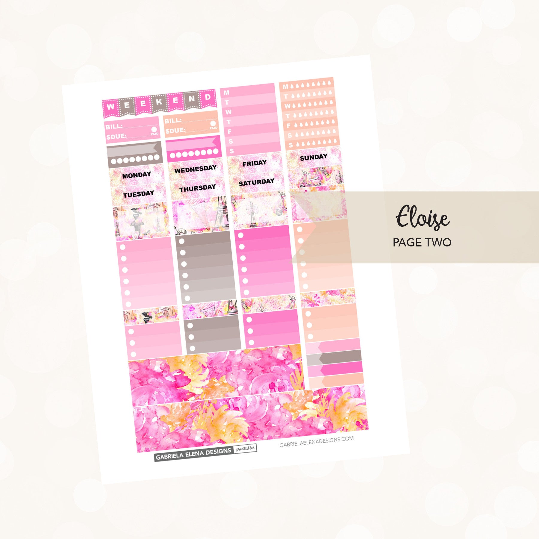 VERTICAL Printable / Instant Download / Eloise