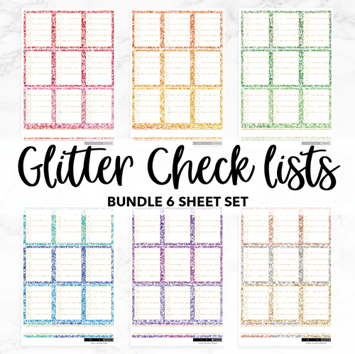 Glitter Check lists // Bundle // Monochrome Sampler Stickers / Set of 6