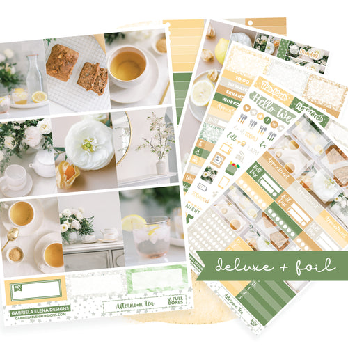 Afternoon Tea // Deluxe VERTICAL // Sticker Kit // Full Weekly Kit / FOIL