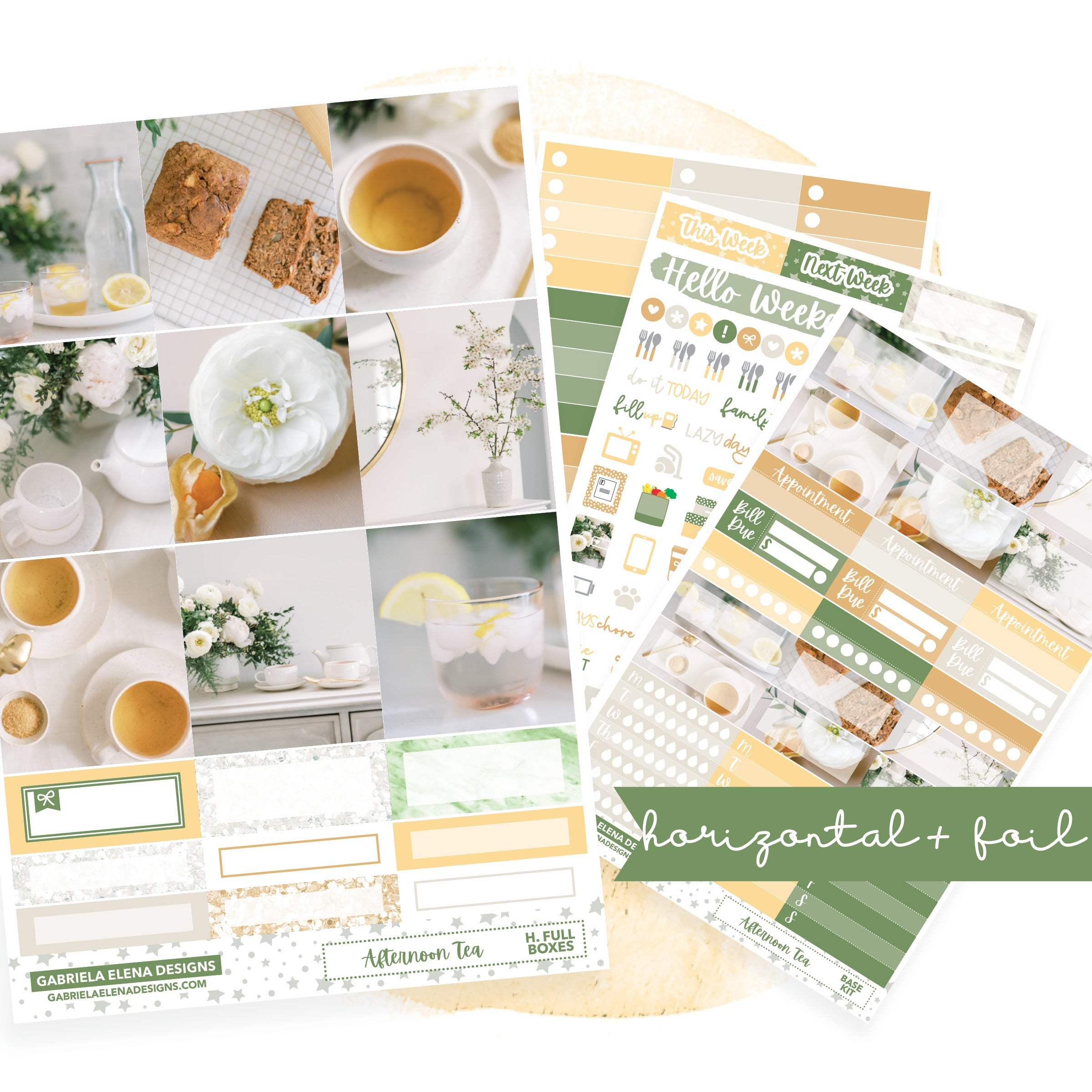 Afternoon Tea // HORIZONTAL / Sticker Kit / FOIL