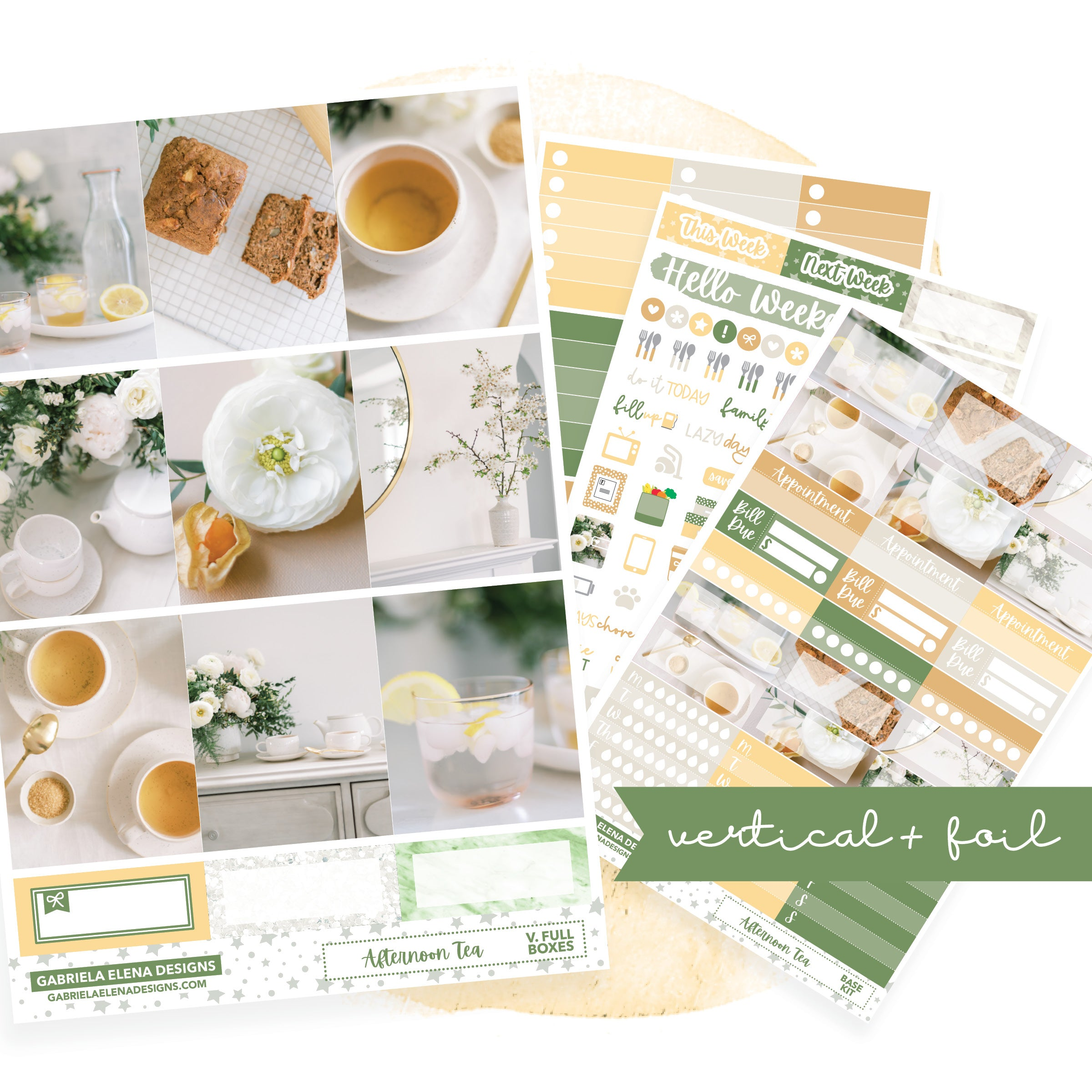 Afternoon Tea // VERTICAL / Sticker Kit / FOIL