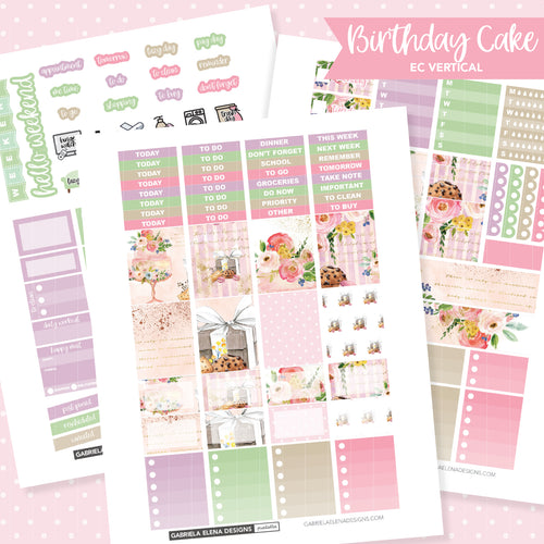 VERTICAL Printable / Instant Download / Birthday Cake