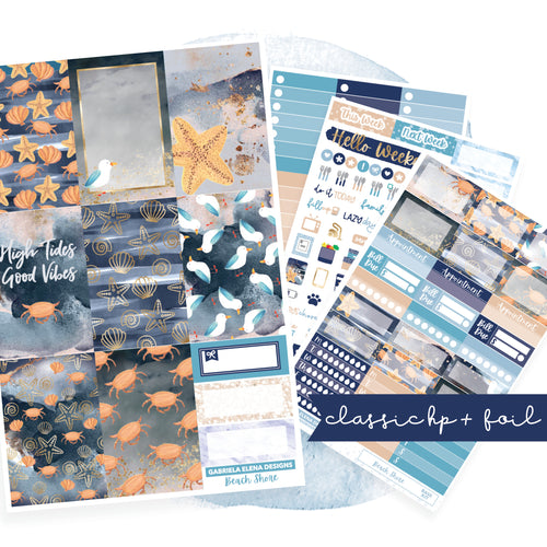 Beach Shore // CLASSIC HAPPY PLANNER / Sticker Kit / FOIL