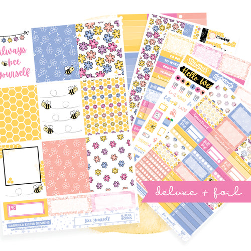 Bee Yourself // Deluxe EC VERTICAL // Sticker Kit // Full Weekly Kit / FOIL