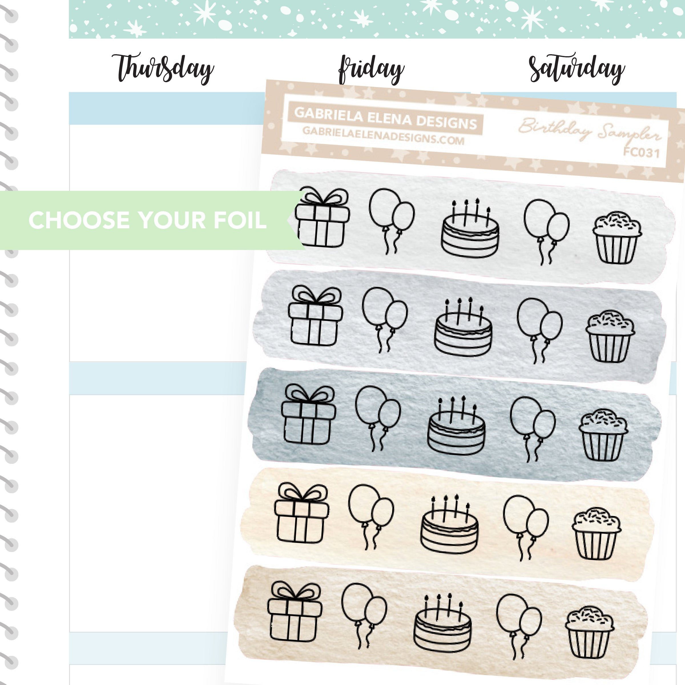 Birthday Sampler / FOIL Stickers / Choose Your Foil / Neutrals