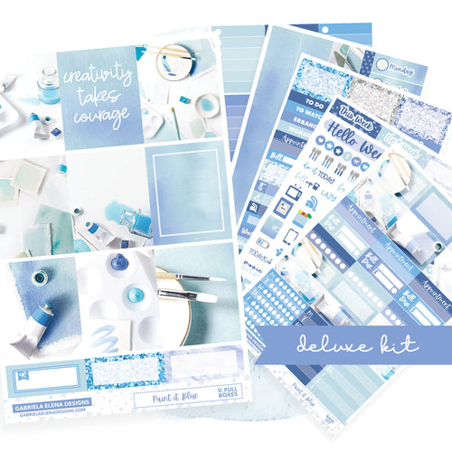 Paint it Blue / Photo Series // Deluxe EC VERTICAL // Sticker Kit // Full Weekly Kit