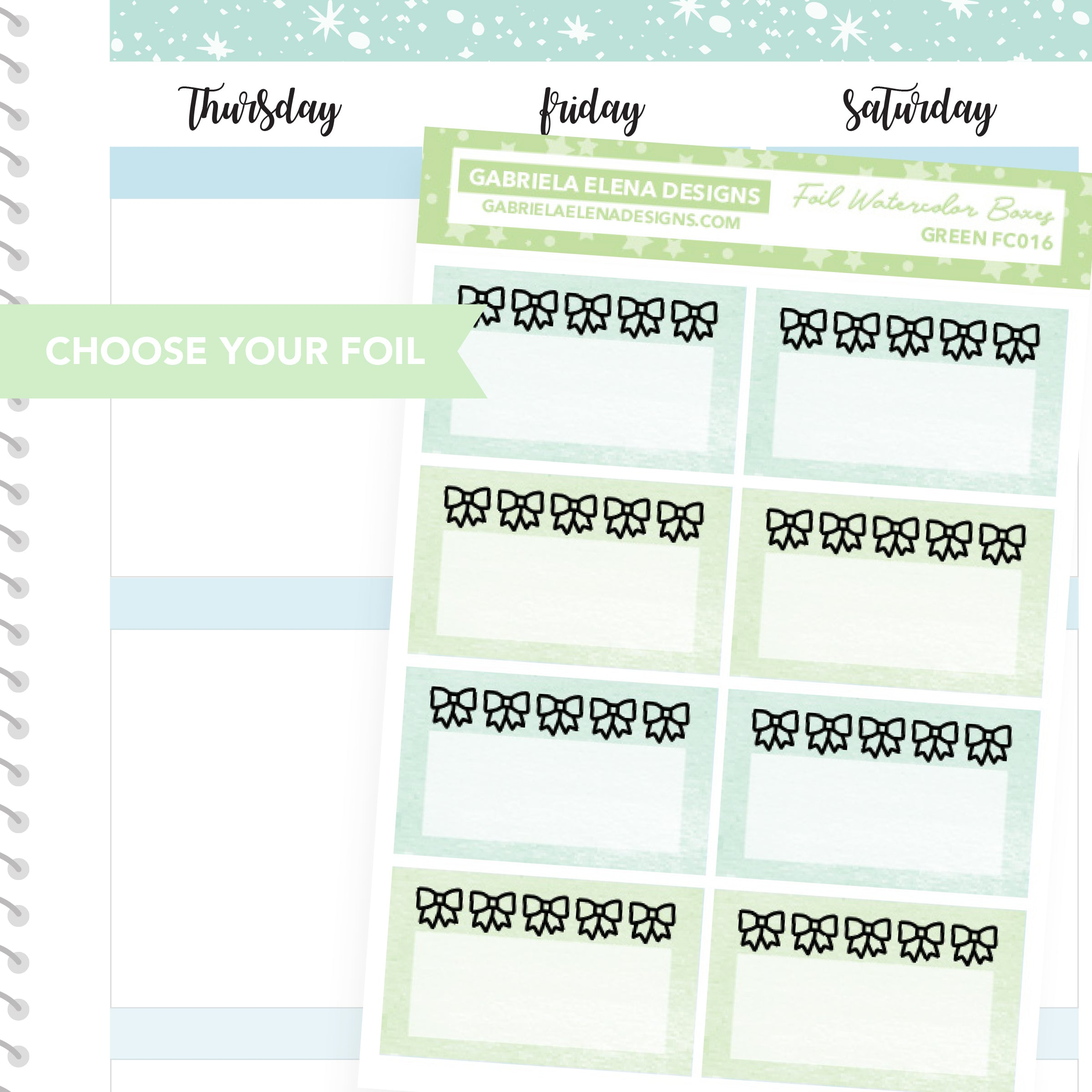 Watercolor Bow Boxes / FOIL Stickers / Choose Your Foil / Pastel Green