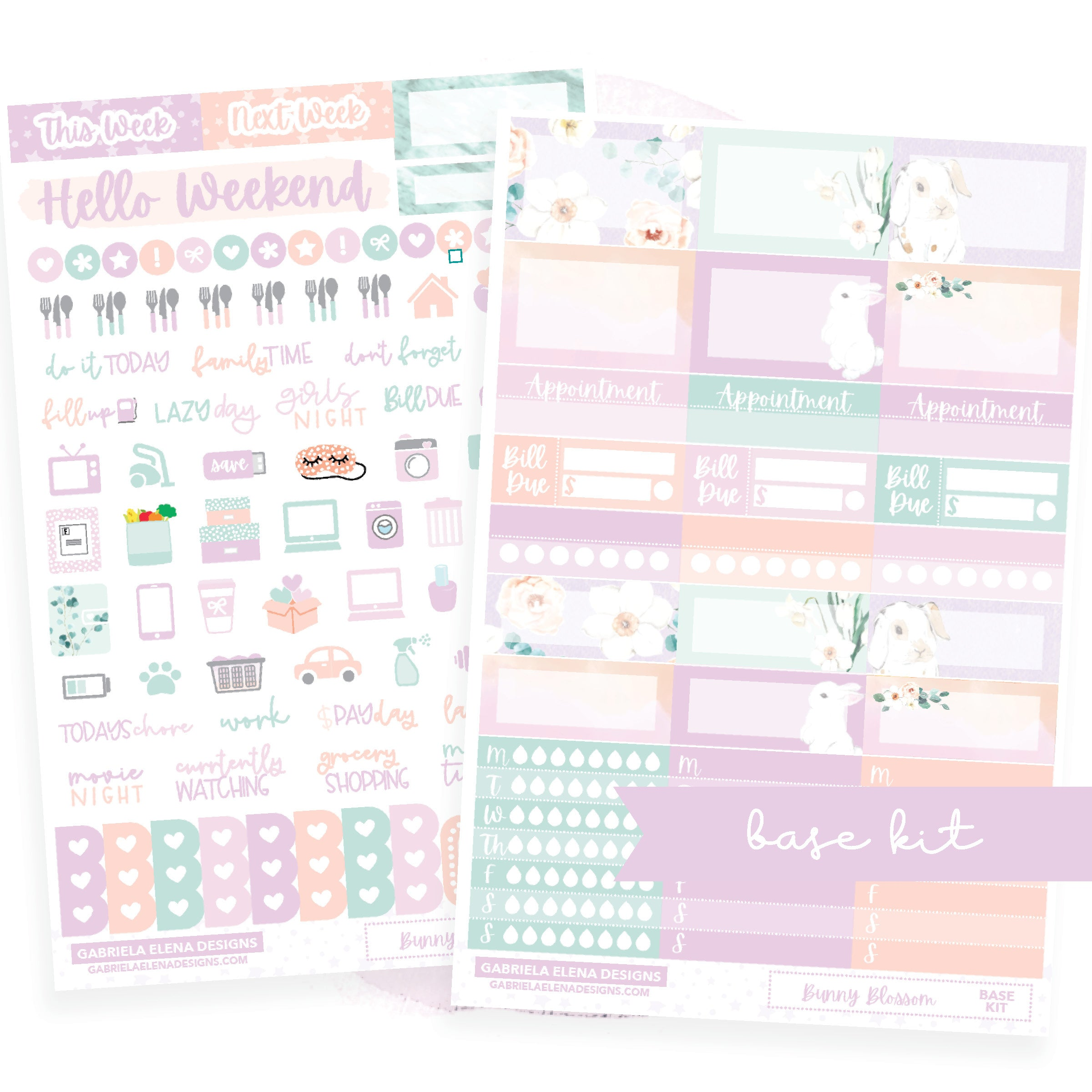 Bunny Blossom // BASE KIT / Icons / Functional / Sticker Kit