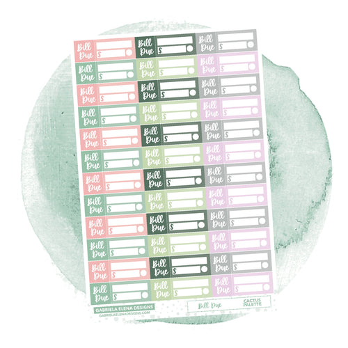 Bill Due // Functional Planner Stickers / Cactus