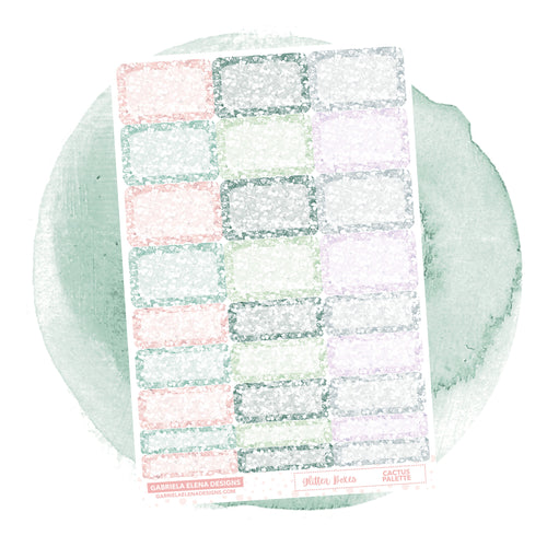 Glitter Boxes // Functional Planner Stickers / Cactus