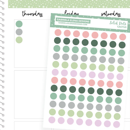 Solid Dots // Functional Planner Stickers / Cactus
