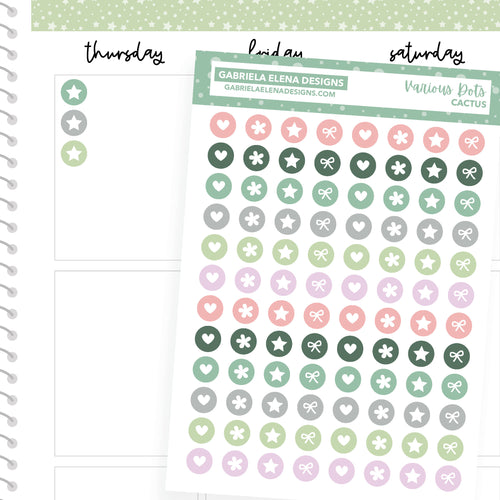 Various Dots // Functional Planner Stickers / Cactus