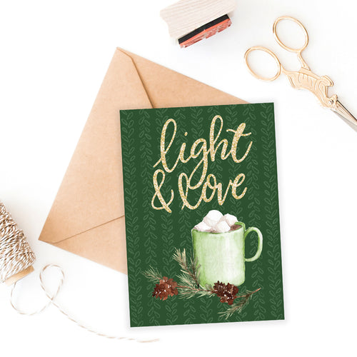 5 x 7 Holiday Card Printable / Instant Download // Light and Love