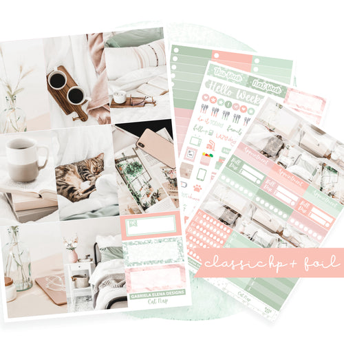 Cat Nap // CLASSIC HAPPY PLANNER / Sticker Kit / FOIL