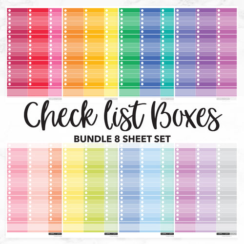 Solid Check list Boxes // Bundle // Monochrome Sampler Stickers / Set of 8
