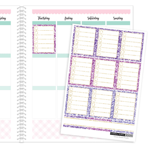 Glitter Check Lists // Functional Planner Stickers / 5 / Purple