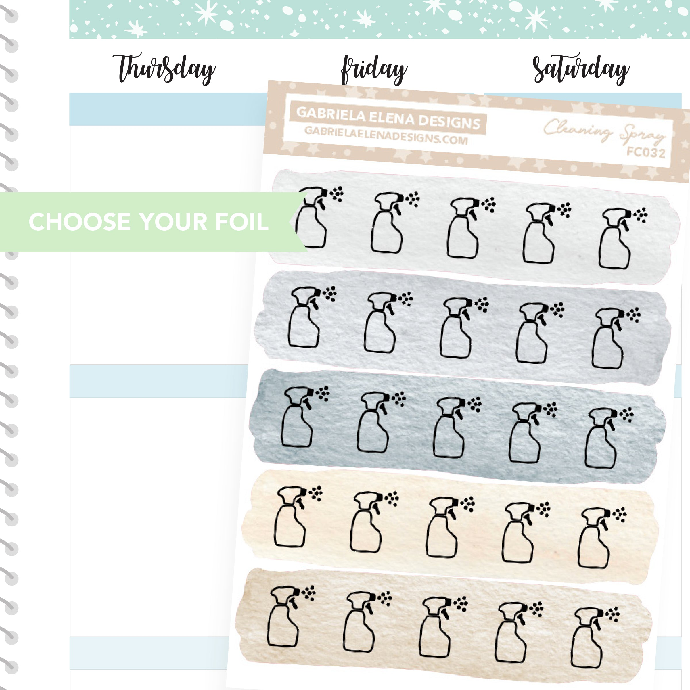 Cleaning Spray / FOIL Stickers / Choose Your Foil / Neutrals