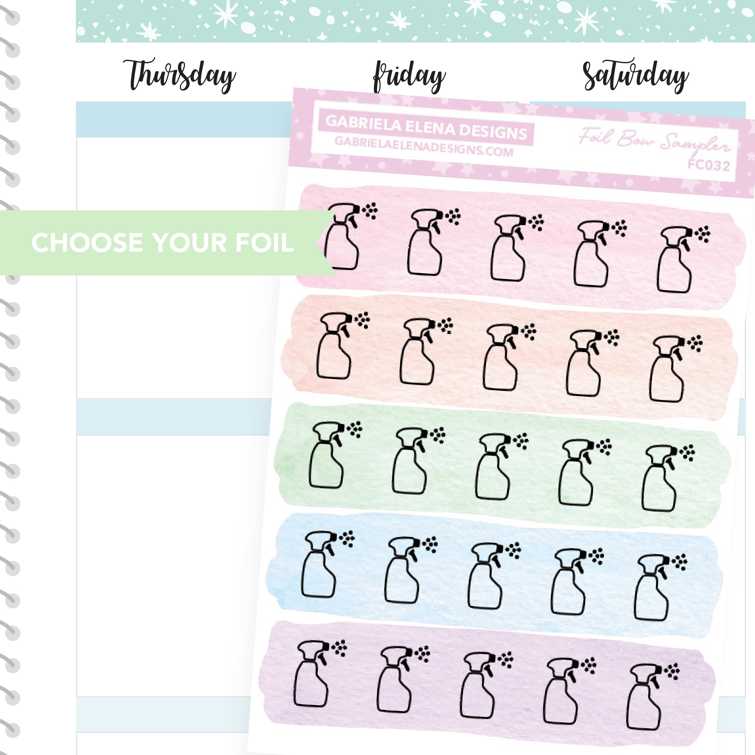 Cleaning Spray / FOIL Stickers / Choose Your Foil / Pastels
